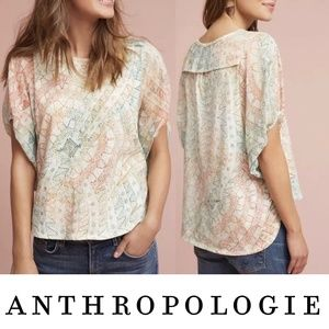 Anthropologie Eri + Ali Briony Watercolor Top Med